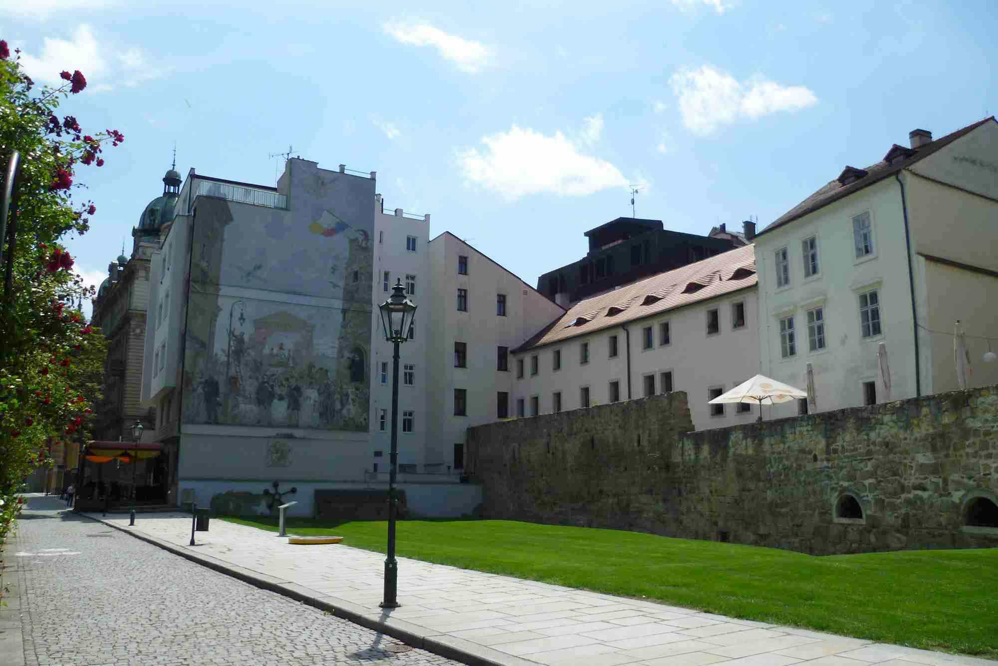 Pilsen tourists attractions: historic walls in Plzeň City Center.
